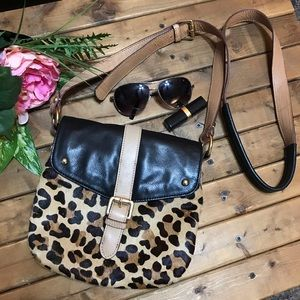 Leather and pony hair leopard crossbody bag